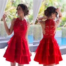 2017 Charming Red Cocktailkleider Vintage Spitze Short Mini Formale Kleider Jewel Neck Tiers Organza Knielangen Short-partei-kleid