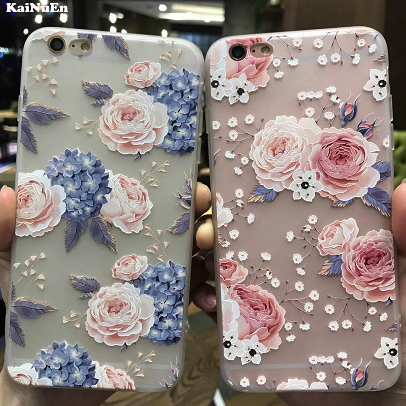 KaiNuEn luxury 3d flower tpu phone back copy,etui,capinha,coque,case,cover for iphone 8 for apple iphone8 silicone silicon i