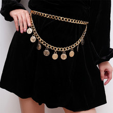 Vintage Queen Coin Pendant Multilayer Thick Chain Waist for Women Sexy Party Charm Belt Dresses Accessories Jewelry