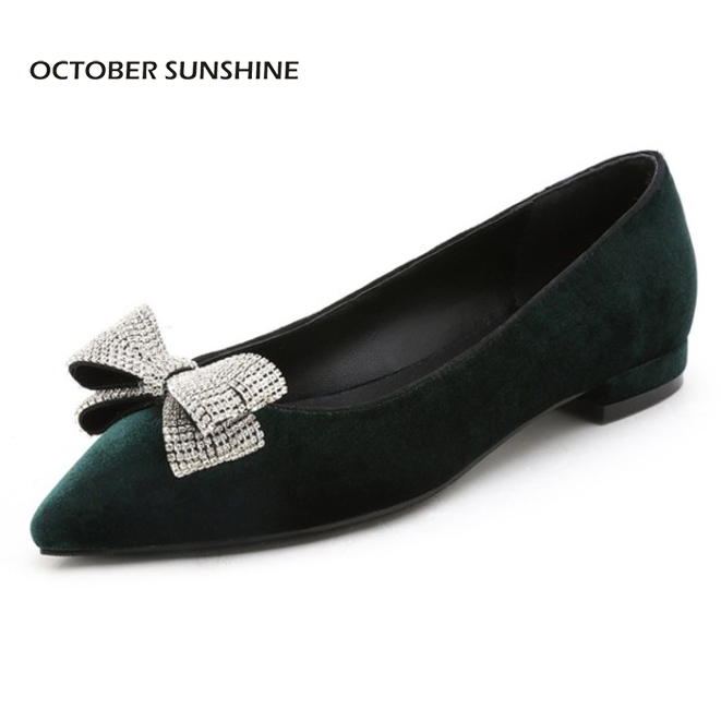 OCTOBER SUNSHINE Summer Women Flock Low Heel Rhinestone Butterfly-knot Pointed Toe Flats ladies handmade Casual shoes for women new 2017 spring summer women shoes pointed toe high quality brand fashion womens flats ladies plus size 41 sweet flock t179