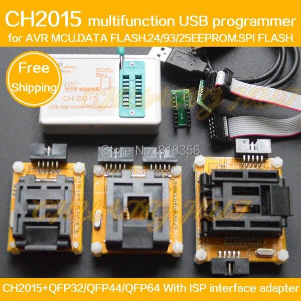 CH2015 + Adaptador TQFP32 AVR ISP/QFP32 TQFP44/TQFP64 QFP44/Adaptador QFP64 Programação AVR MCU FLASH DE DADOS SPI FLASH Programador de EEPROM