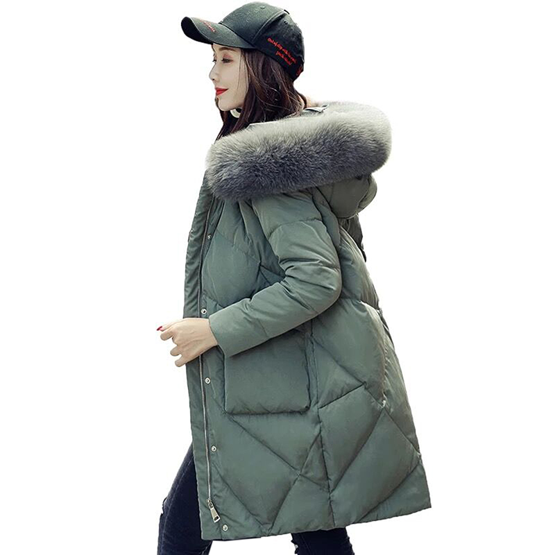 Winter New Jacket Women high quality Fur Hooded White Duck   Down   Jacket Thick Warm Female Parkas Women Winter   Down     Coat   Plus size
