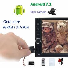 Rear camera+2Din Car Radio Stereo 8-core Android 7.1 Headunit no DVD GPS Navigation support 4G WIFI FM AM Steering Wheel Control