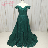 green prom dresses real picture off the shoulder side slit with detachable train evening dresses arabic 2018