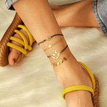 4pcs/sets Gold Heart Anklets For Women Multilayer ocean Leaf Love Circle Round Ankle Bracelet Foot Leg Chain Jewelry Girl Gift