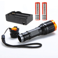 New 20000LM LED torch Flash lamp 5 modes Focus lamp Zoomable Led Flashlight Torch lights+Charger+ 2*18650 5000mAh battery