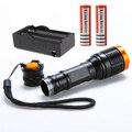 Nova 20000LM LEVOU tocha lâmpada de Flash lâmpada 5 modos de Foco luzes Zoomable Led Flashlight Torch + Carregador + 2*18650 5000 mAh bateria