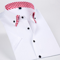 Double Collar Men Short Sleeves Dress Casual Shirt Solid Color Slim Fit Business Male Social Shirts