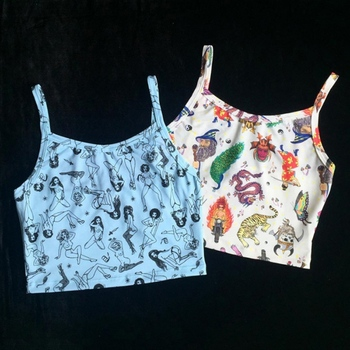 European American Sexy Strapless Camisole  New Summer Cartoon Print Camisoles Women\s Slim Sleeveless Ladies Top