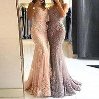 New arrival prom party evening dresses trumpet vestido de noiva sereia gown lace dress mermaid robe de soiree sexy V neck