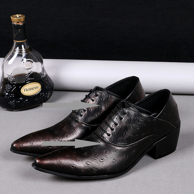 Mens shoes high heels pointed toe dress shoes lace up genuine leather italian formal shoes men office plus size zapatos hombre