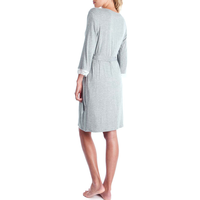Solid Gray Lace LONSANT Maternity Dress 2