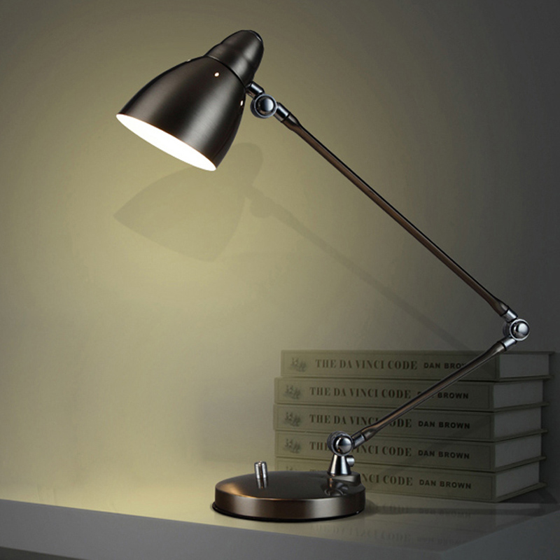 Modern Table Lamps Creative Reading Lights Metal Folding Desk Lamps With Switch Adjustable Arm E27 LED Table Lamp eye Protection novel art solid geometry bedroom bedside table lamps led table lamp 220v desk lights decor eye protection reading light white