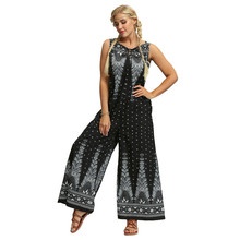 Womens Summer Jumpsuits 3D Printed Polka Dot Boho Bodysuit S
