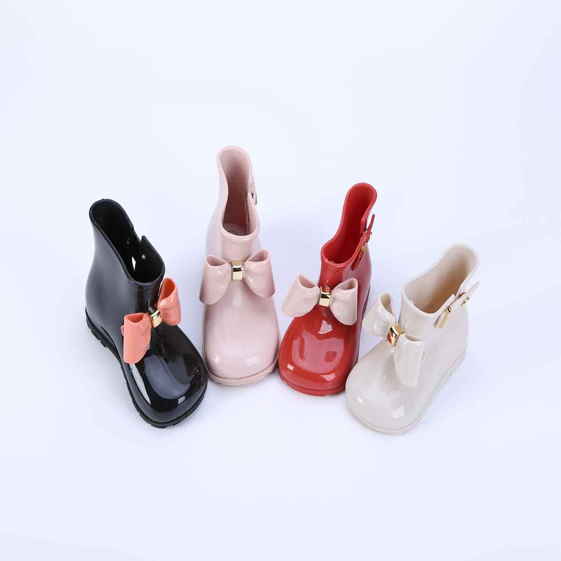 c5856e04cd69 Melissa Rain Boots PVC Bow Boot Bowknot Children Shoes 2018 New Winter Side  Rivets Mini Kids