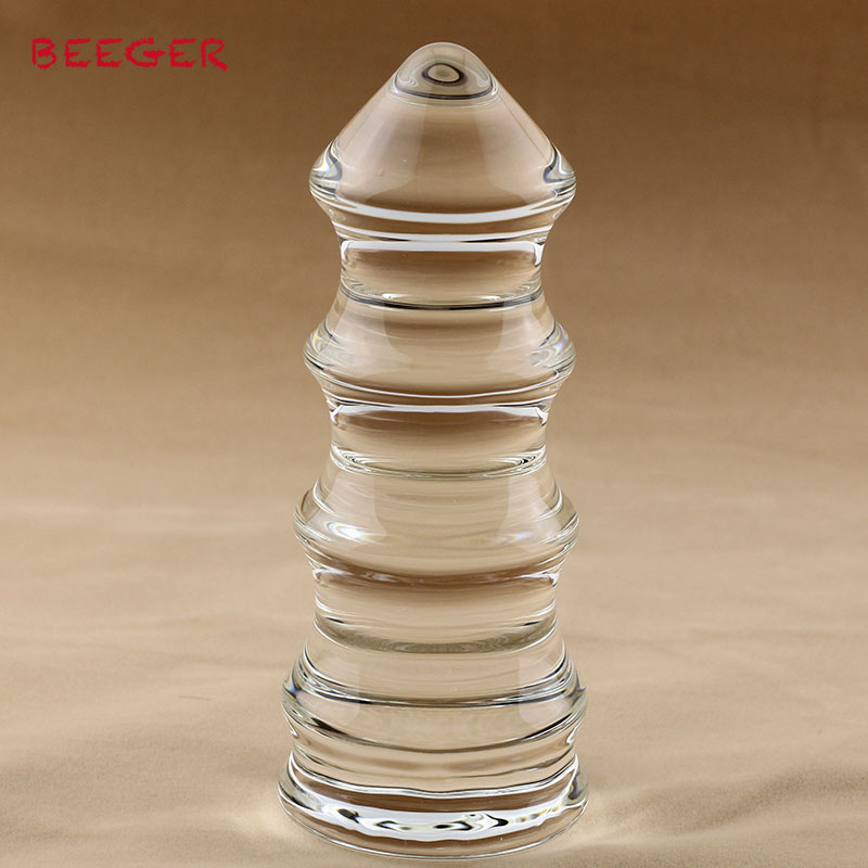 Beeger Pagoda Type Clear Glass Anal Beads Butt Plug G Spot -5142
