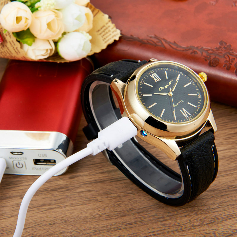 CkeyiN Men's Rechargeable USB Watches Lighter Electronic Watch Windproof Flameless Cigarette Lighter Men Quartz Wristwatches недорого