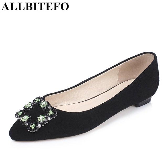 ALLBITEFO new spring sheepskin pointed toe Rhinestone office ladies shoes fshion brand comfortable women flats women's shoes