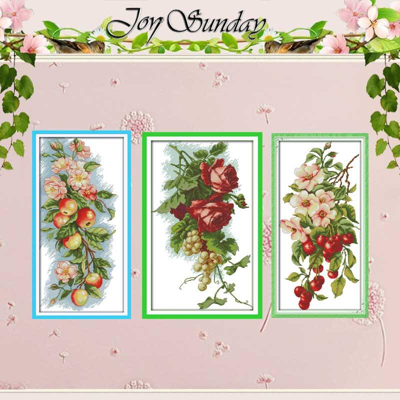 Cherry Uva roses Fiori mele contati Punto Croce 11CT 14CT Punto Croce Set FAI DA TE Kit punto Croce Ricamo ad ago