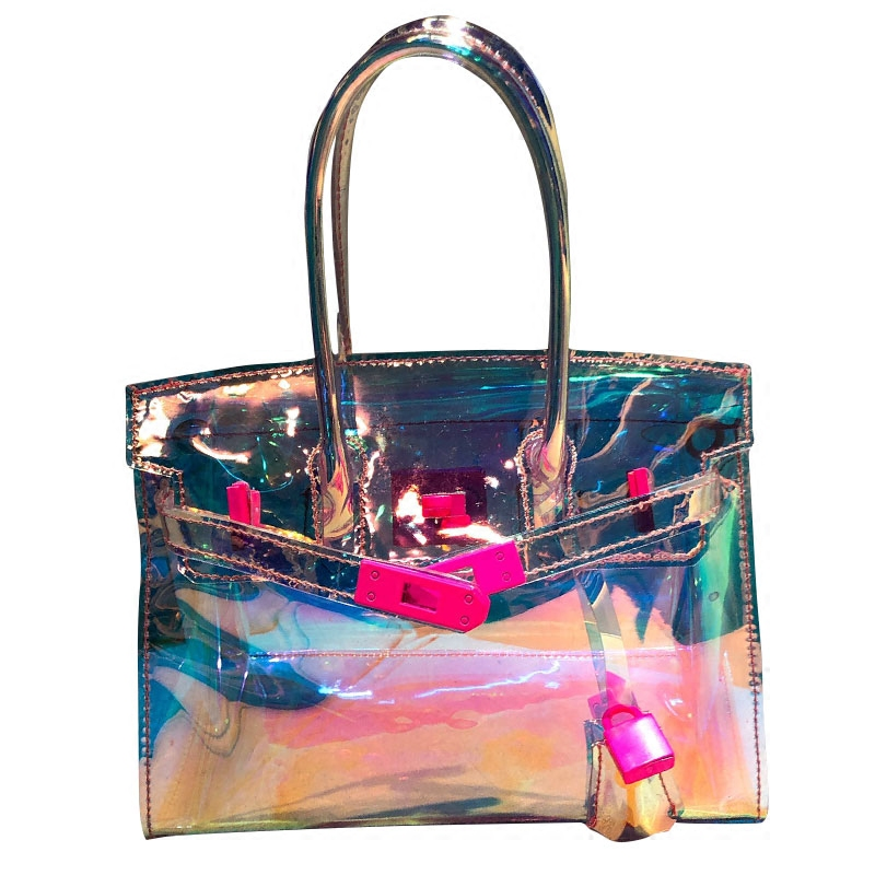 Fashion Hologram Handbag Women Summer Transparent Beach Bag Small Messenger Bag Girls Holiday Pvc Plastic Handbag with Lock цена