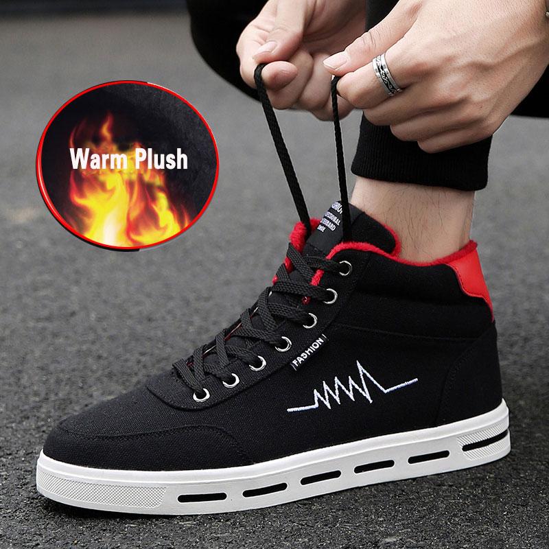 SUROM de los hombres de Invierno Caliente zapatos de los hombres de alta superior de zapatos casuales zapatos de hombre Botas de invierno cálido zapatillas de deporte casuales a pie plano marca calzado