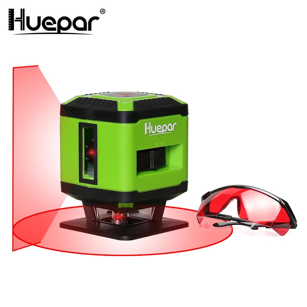 все цены на Huepar Red Beam Floor Laser Level for Tile Laying Square Leveling Cross Line Laser 360 Degrees+Huepar Laser Enhancement Glasses онлайн