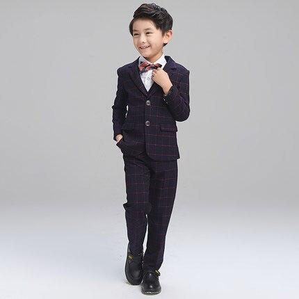 (Jacket+Pant+BowTie+Shirt+Vest) Boy Suits Flower girl Slim Fit Tuxedo Brand Fashion Bridegroon Dress Wedding Stripe Suit Blazer