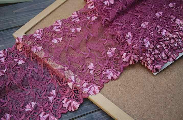 2 Metri 23 cm Larghezza Viola Sexy Rosso di Alta Qualità Del Merletto George tessuto 2018 Nuovo Arrivo Africano Del Merletto Cavo Guipure Lace Trim Maglia