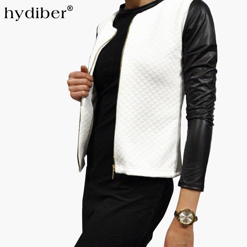 2018 Autumn   Basic     Jacket   Women PU Leater Patchwork Black White Short Coat Long Sleeve Argyle Cotton Coat   Jacket   Z48