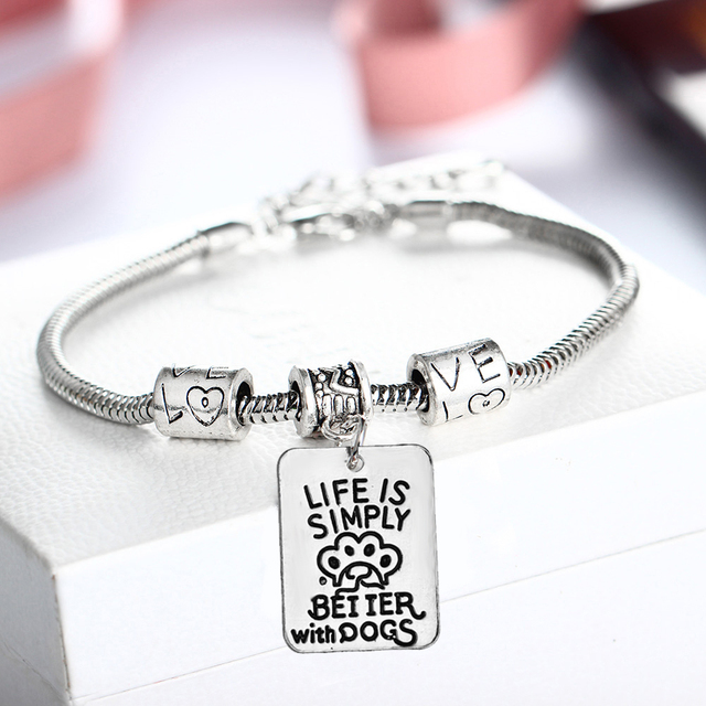 Life Is Simply Dog Charm Bracelet Chain Bangle Jewelry Pet Lover Memory Pendant Gifts Silver Plated Tags