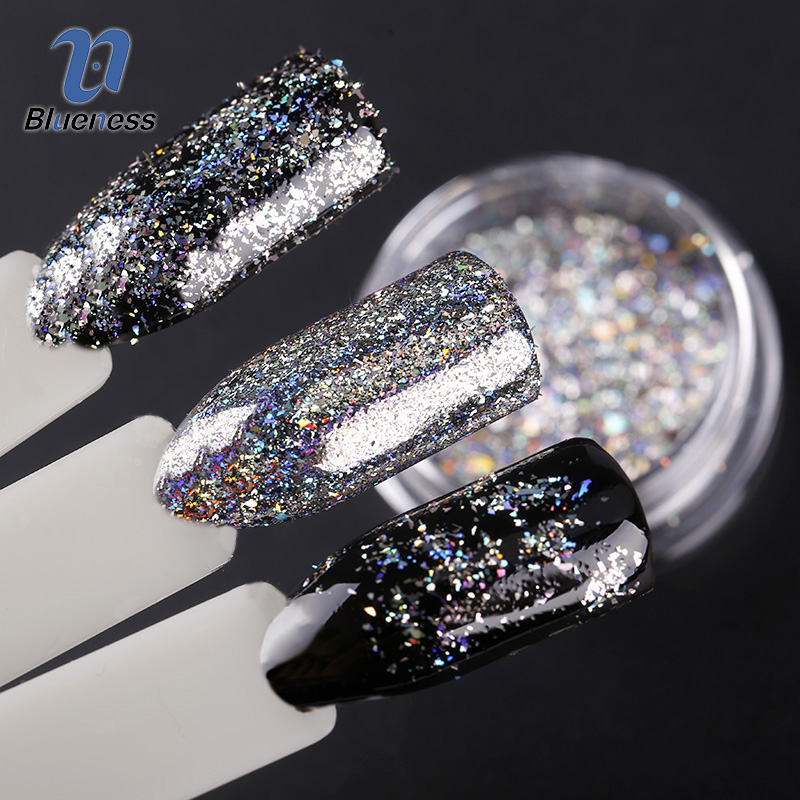 Blueness 2Box 0.2gram/box Nail Flecks Laser Flakes Nail Mirror Powder Pigmen Galaxy Chrome Nail Art UV Gel Nail Accessories mioblet 2g box mirror effect nail glitter powder shiny rose gold purple mirror chrome powder dust nails art pigment diy manicure