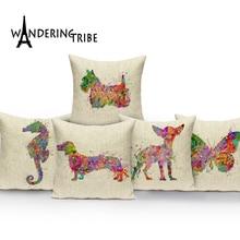 Watercolor Animal Cushion Cover Custom Linen Throw Pillow Cute Deer Elk Pillowcase Home Sofa Car Seat Decorative Cushions