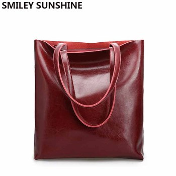 Vintage Real Genuine Leather Handbags Big Women Tote Bags Female Fashion Designer High Quality Office Ladies Shoulder Bags 2018