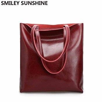 3f3ce96c5 Vintage Real bolsos de cuero genuino de las mujeres grandes bolsas de mujer  de diseñador de