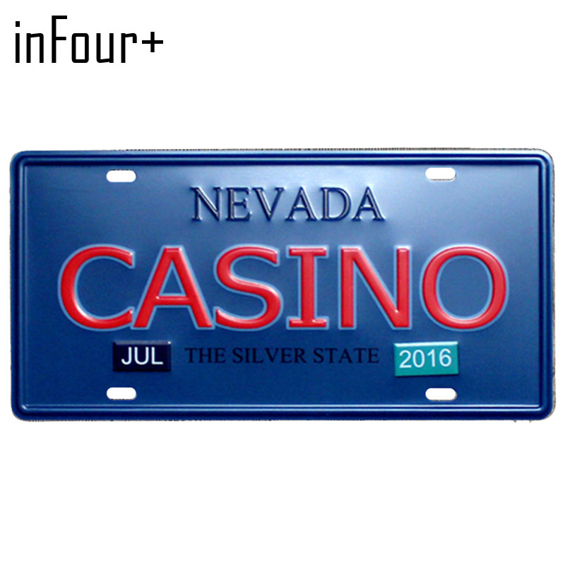[inFour+] Nevada CASINO Plate Metal Plate Car Number Tin Sign Bar Pub Cafe Home Decor Metal Sign Garage Painting Plaques Signs