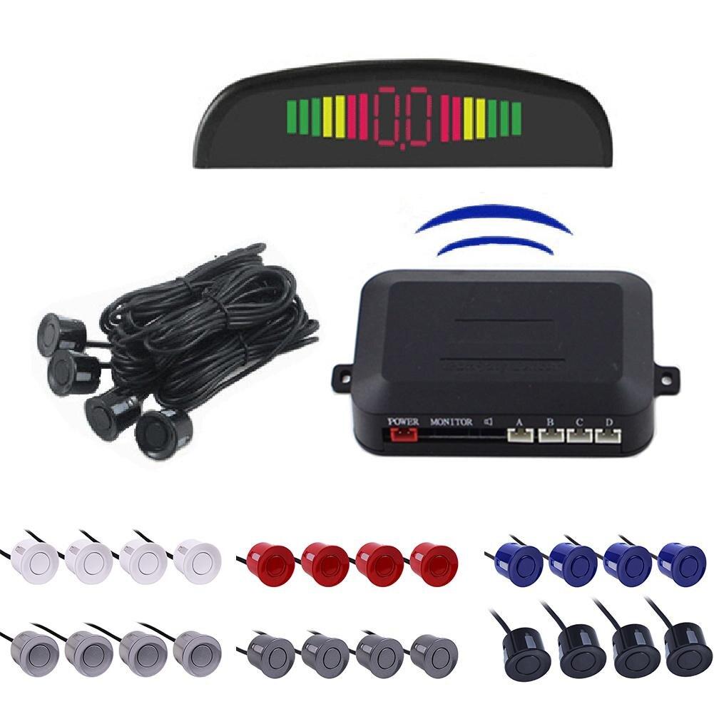12V Auto Parktronic LED Parkplatz Sensor Mit 4 Sensoren Reverse Backup Parkplatz Radar-Monitor Detektor System Hintergrundbeleuchtung Display
