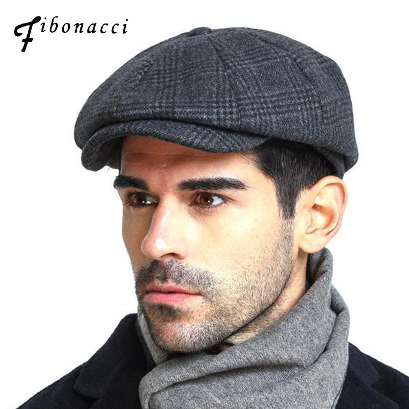 Fibonacci 2018 New Brand Quality Wool Plaid Beret Hats For Men Caps Autumn Winter Dad Newsboy Hat