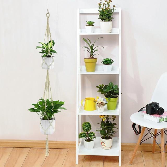WITUSE 1PC Double Layer Handmade Cotton Pots Holder Hanging Basket Flower Hanger Flowerpot Macrame Lifting Rope For Garden Home