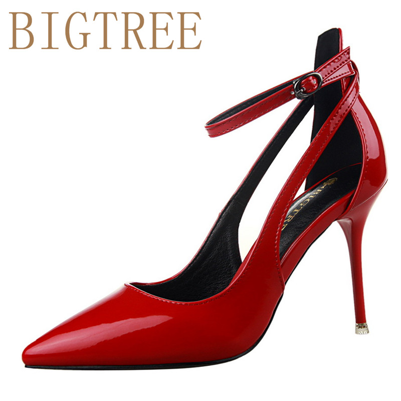 BIGTREE New Fashion Women Pumps Thin High Hee Women Shoes Hollow Toes Spring Sweet High Heels 9.5 CM RED Black 2017 new fashion 3pcs women lady handbag shoulder bag lady tote messenger leather crossbody purse set solid zipper gift soft