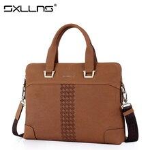 Sxllns Men Shoulder Bags Brand Handbag Briefcases Tote Laptop Bag Genuine Leather Men's Messenger Bag Vintage Casual Travel Bag
