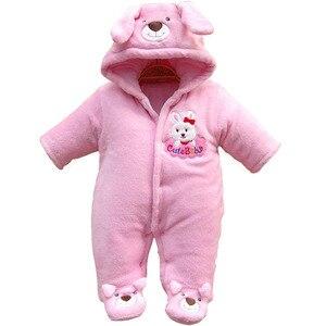 Image 2 - 신생아 아기 Rompers 만화 후드 겨울 아기 의류 두꺼운 면화 아기 소녀 의상 아기 소년 점프 슈트 유아 의류