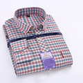Fashion men high quality Oxford Warm Spinning Cotton shirt  Mens Long Sleeved Plaid Shirt  Slim  Business Men Thick shirts