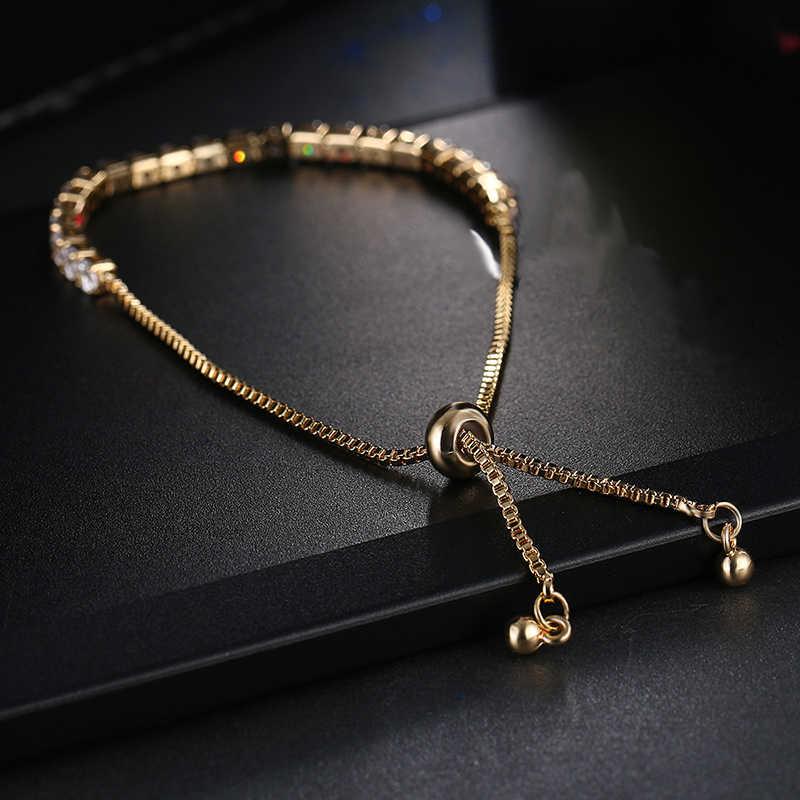 אופנה עגול מעוקב Zirconia טניס מתכוונן צמיד צמיד לנשים לבן זהב צבע קריסטל צמידי תכשיטי חתונה מתנה