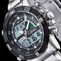 WEIDE Marke Männer Sport Uhren herren Quarz Multifunktions Military Watch Analog Digital Wasserdicht Edelstahl Armbanduhren-in Quarz-Uhren aus Uhren bei