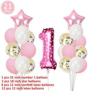 Image 2 - 1st aniversário menina festa decorações rosa feliz aniversário balões definir 12 meses moldura da foto banner primeiro bebê meu 1 um ano diy