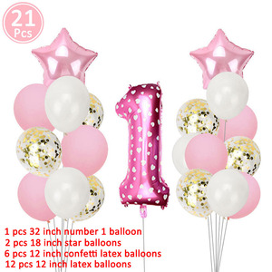 Image 2 - Pink Foil Number Balloon Confetti Latex Air Balloons 1st Happy Birthday Party Decorations First Baby Baby Girl Boy My 1 One Year