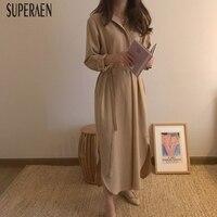 SuperAen Loose Women Fashion Dress Solid Color Cotton Casual Ladies Dress Long Sleeve Korean Style Autumn New 2018 Long Dresses