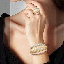 ModemAngel Dubai Wedding Cubic Zircon Three Tone Copper Bracelet Bangle And Ring Jewelry Sets For Women Bride Accessories