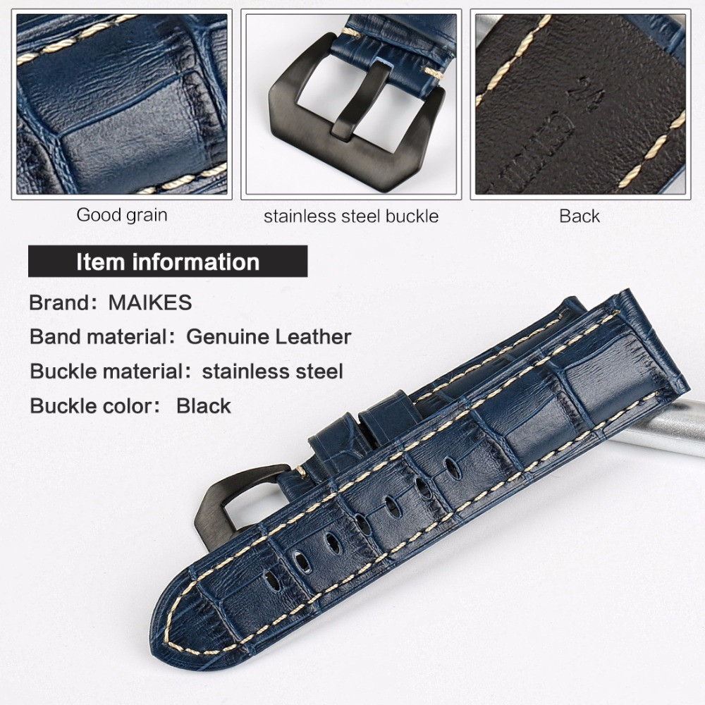 MAIKES Quality Genuine Leather Watch Strap 22mm 24mm 26mm Fashion Blue Watch Accessories Watchband For Panerai Watch Band