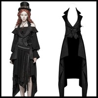 PUNK RAVE Women Gothic Detachable Long Waistcoat Steamounk Vintage Fashion Women Vest Victorian Cosplay Party Vest Coat